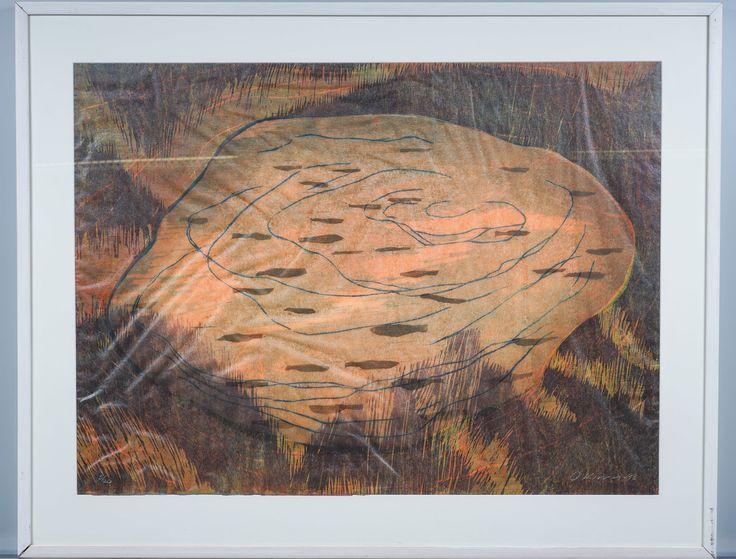Outi Kirves: Lammikko, 1998, puupiirros, 72x97 cm, edition 5/20 - Huutokauppa Helander 09/2015