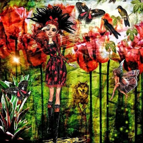Except butterflies by Valentina crea, all other elements are from kits on Deviant scrap: Tulip by X-quizart, Art by January, Hollywood Studios and itKupilli.