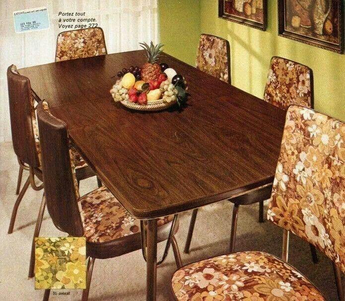 70s Floral Dinette Set  Retro Home Decor 60s  70s
