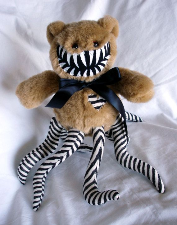 Teddy bear monster- Black and White Striped Tentacles. $40.00, via Etsy.: Bears Monsters, Black And White, Teddy Bears, Stripes Tentacle, Monsters Black, Beautiful Consumerism, Darci Boards, White Stripes
