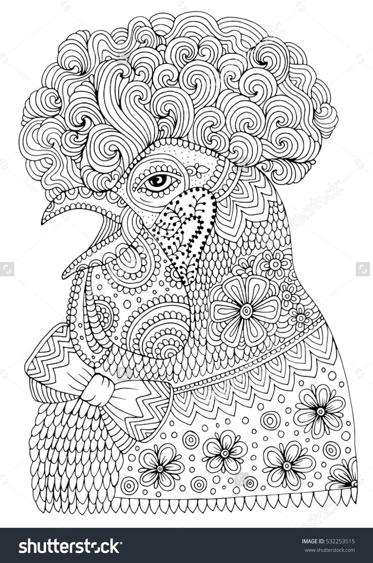 The coloring book project 2nd edition - Vector Hand Drawn Portrait Black Patterned Hipster Rooster Symbol Of Chinese Calendar 2017 New Year Pattern For Coloring Book Size