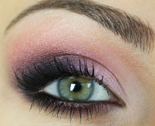 Purple/pink smokey. I skip the eyeliner for work but the purple/pink combo is perfect for fair skin/green eyes!