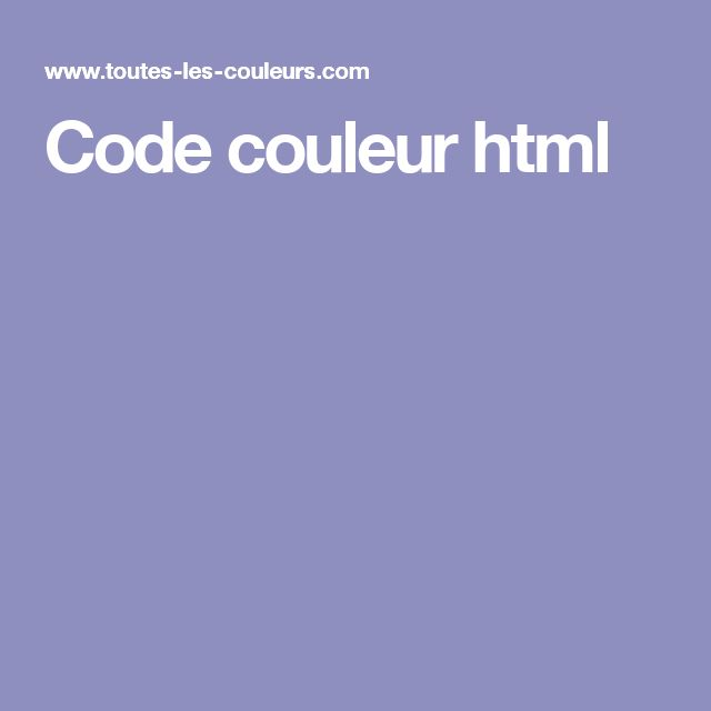 Code couleur html
