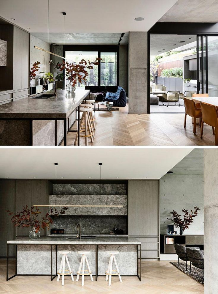 This modern house has an open floor plan with the kitchen - Kitchen dining room and living room all open ...