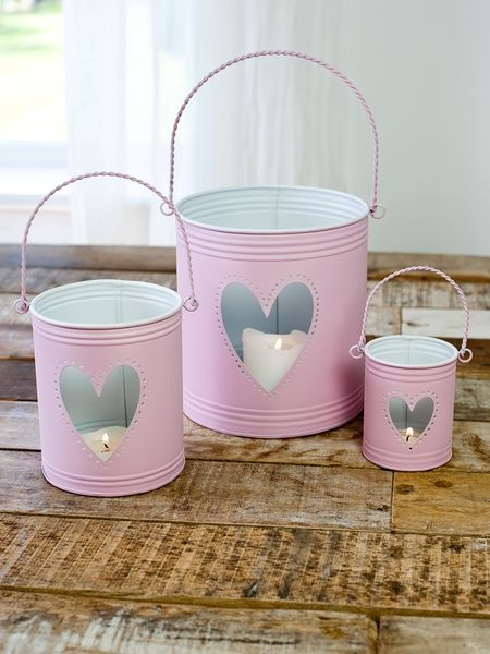 Cute & Pink buckets made from tin cans - and I just threw a lot of these cans away.