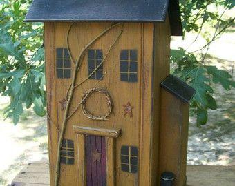 Farmhouse Birdhouse Primitive Birdhouse Rustic Birdhouse