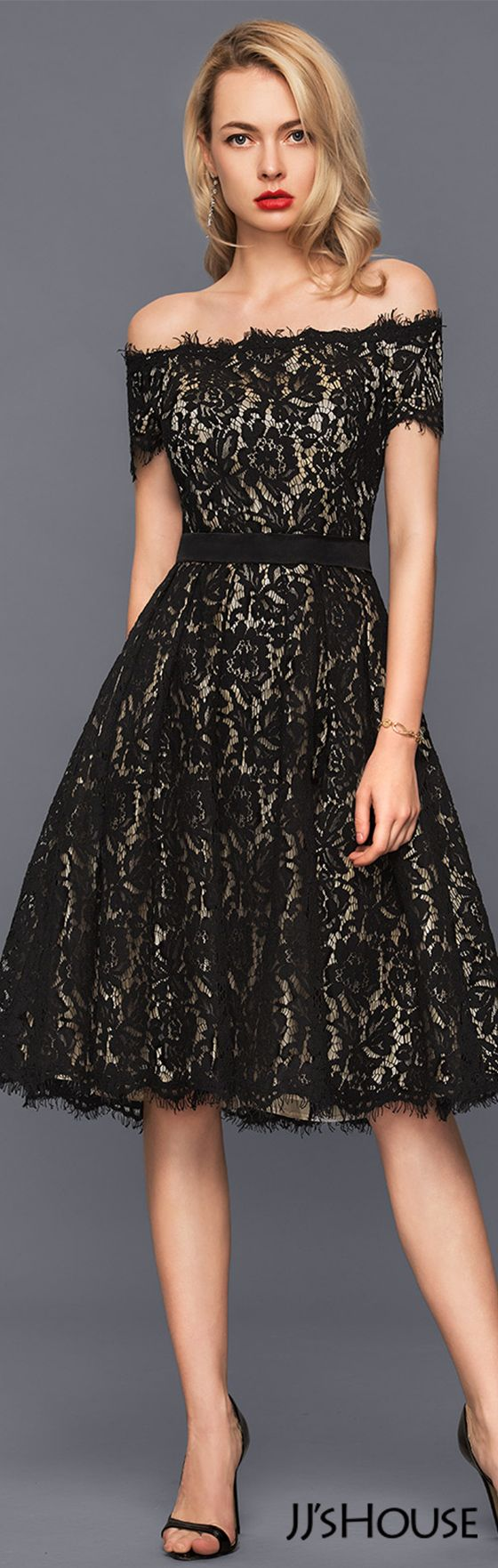 A-Line/Princess Off-the-Shoulder Knee-Length Lace Cocktail Dress#JJsHouse #Cocktail dresses
