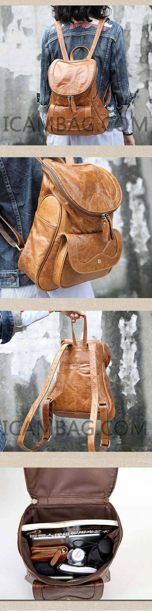 HANDCARTED LEATHER TRAVEL BACKPACK BAGS, LARGE BACKPACKS