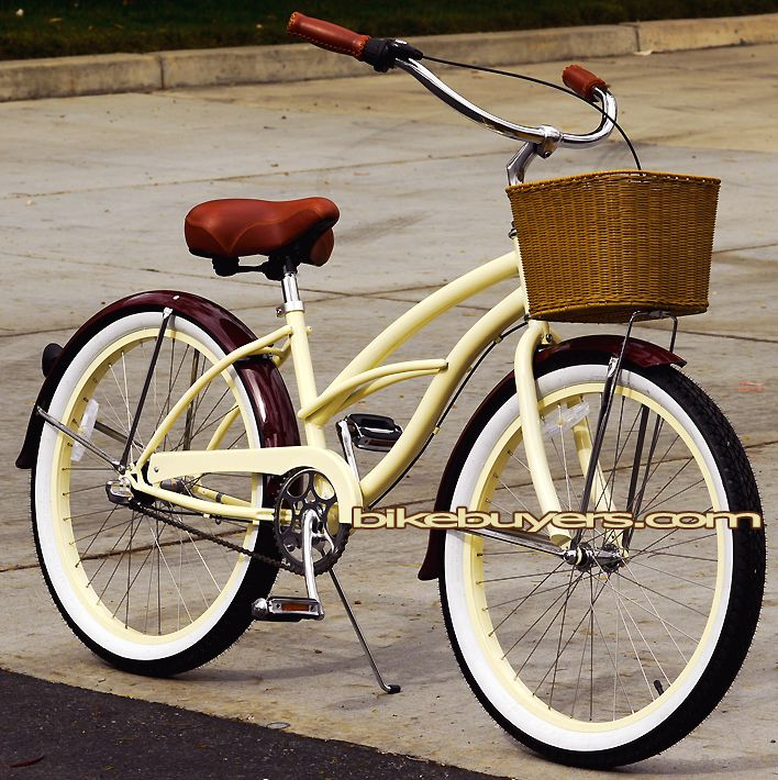 "Fito Mocha-24 NX3 Deluxe, 24"" women's 3-speed beach cruiser bike bicycle"