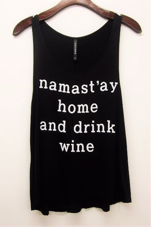 Namast'ay Home Graphic Tank Top-Black