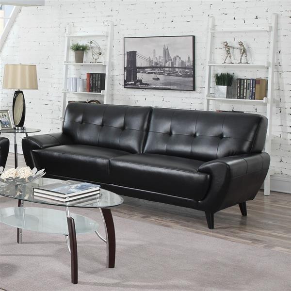 leskow modern black faux leather tufted back sofa  black