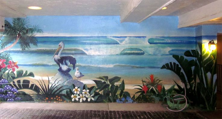 32 best images about oceanview with flowers on pinterest for Beach mural painting