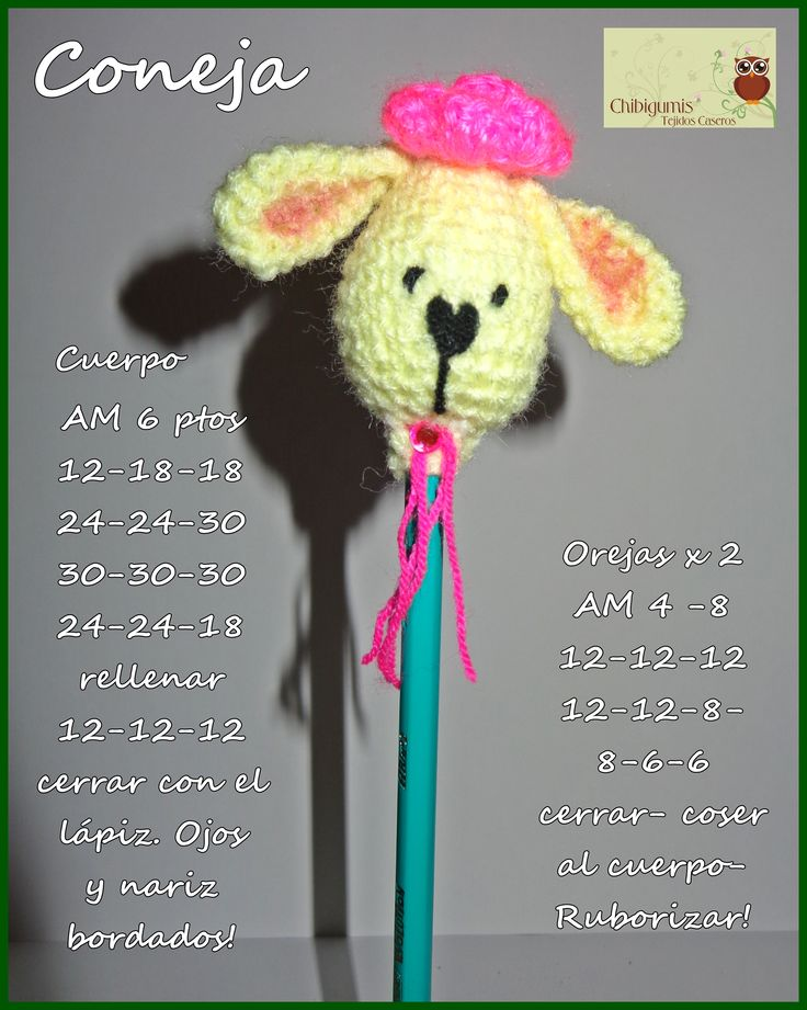 Pencil Topper RABBIT free mini pattern♥