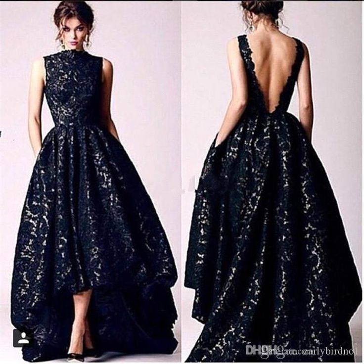 2017 New Arabic High Low Black Lace Prom Party Dresses Vintage High Neck Sexy Backless Formal Occasion Evening Gowns White Prom Dresses Plus Size Formal Dresses From Earlybirdno1, $130.87| Dhgate.Com