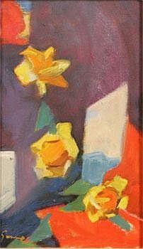 Carl Gunne (1893-1979) - Komposition med Gula Rosor