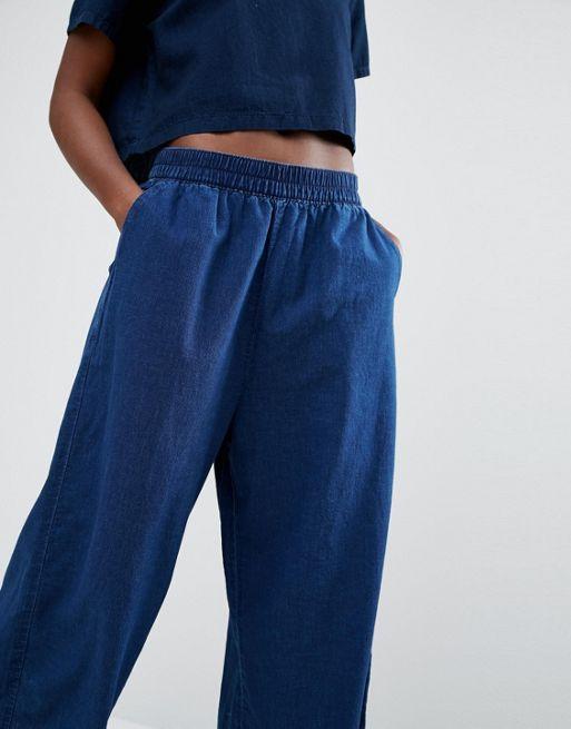 Monki - Jupe-culotte en jean Bleu Femme Pantalons,Pas Cher soldes France,boutique en ligne france