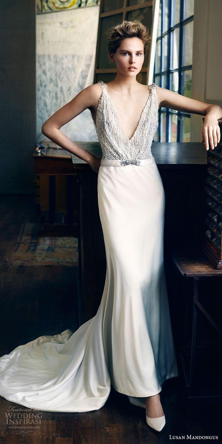 lusan mandongus 2017 bridal sleeveless deep v neck heavily embellished beaded bodice elegant glamorous sheath wedding dress open low v back sweep train (peridot) mv