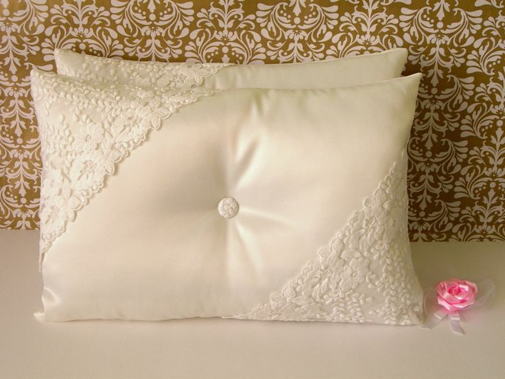 Set Of 2 Ivory Wedding Kneeling Pillows Decorated With