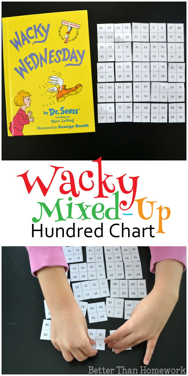 Try to correct the hundred chart with this Wacky Mixed-Up Hundred Chart game inspired by the Dr. Seuss book Wacky Wednesday.