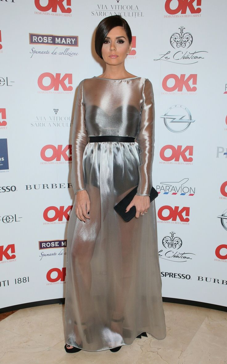 Albertina Ionescu wearing Metallic Silk Organza Dress for OK! Designers' Party #organzadress #silk #sheer #dress #redcarpetdress #Red #carpet #dress #Silk