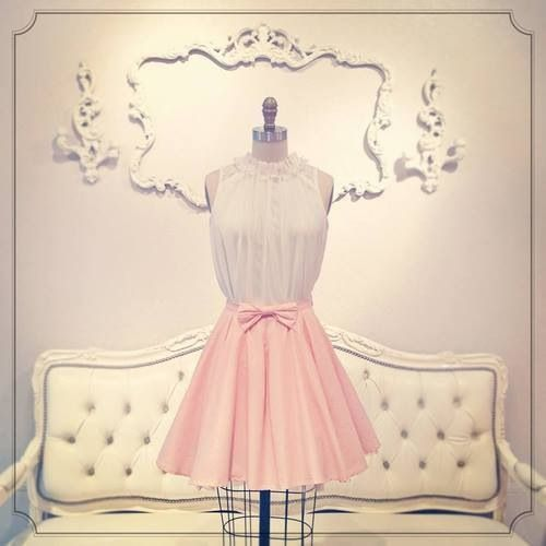 Imagem de dress, pink, and white