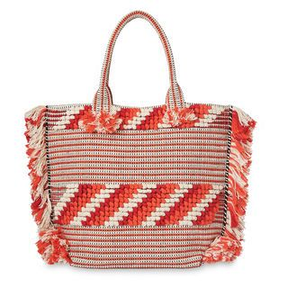 Manzoni Woven Fringe Tote, in Orange on Whistles