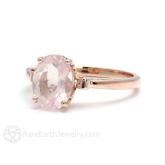 Rosa oro Anillo cuarzo rosa anillo Fleur de Lis por RareEarth