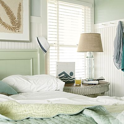 Designer Cathy Chapman Chose To Use Taller Beaded Board In This Bedroom To  Create The Illusion