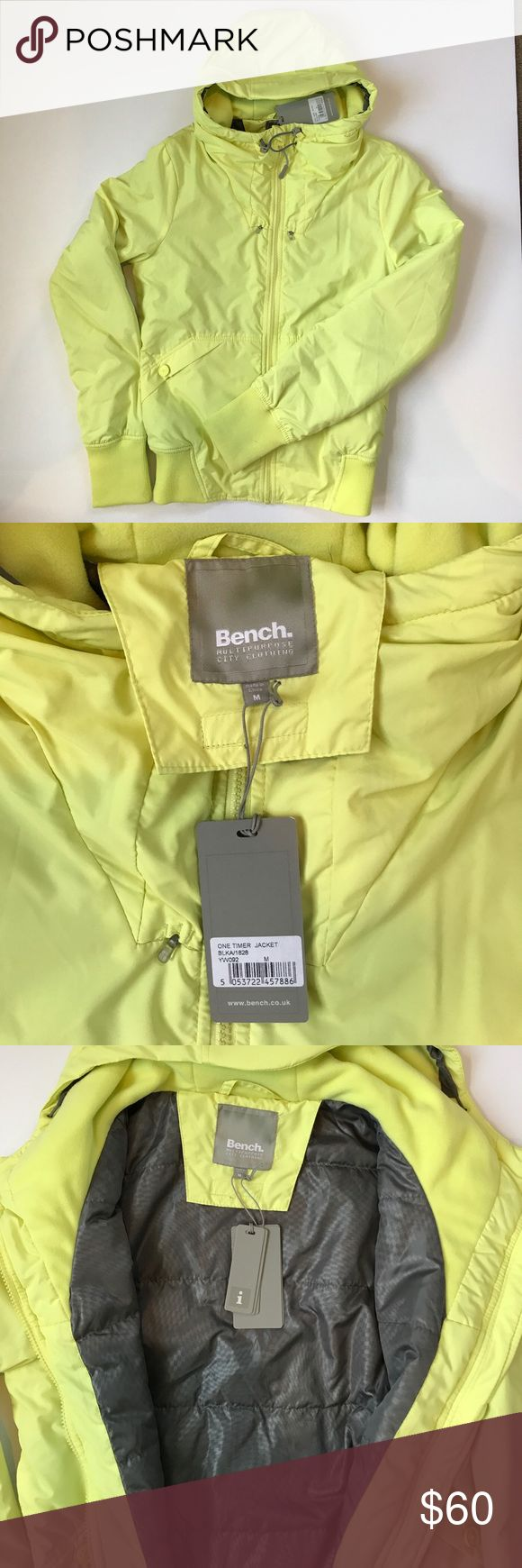 NWT Bench One Timer Jacket NWT Bench jacket. Packs into hood. Reflective elements for enhanced visibility in low light. Durable water repellent finish PFOA free. Lasts up to 10 washes. Never worn. Smoke and pet free home. Bench Jackets & Coats