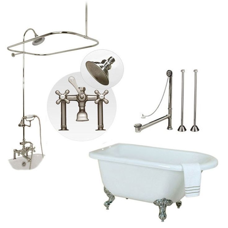 Randolph Morris 54 Inch Acrylic Clawfoot Tub and Shower Package - Chrome Fixtures