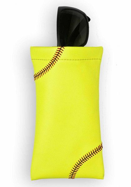 Zumer Sport Softball Sunglass Pouch Made From Real Softball Material #zumersport #softballsunglasspouch #softball #sunglasspouch #sunglasscover #sunglasscase
