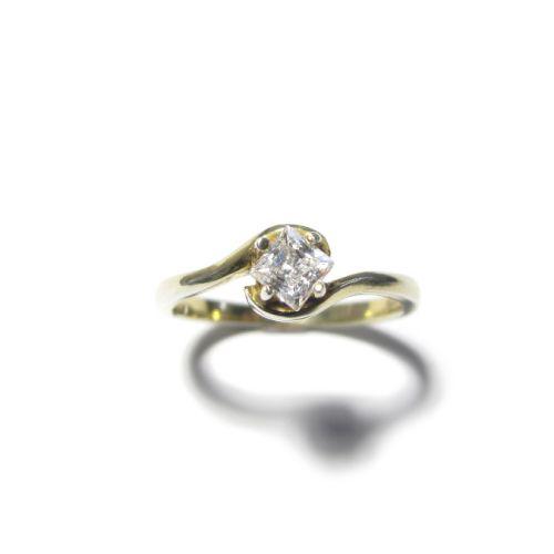 Square Diamond Ring, 0.32ct white square diamond on 18ct gold. $2900 NZD