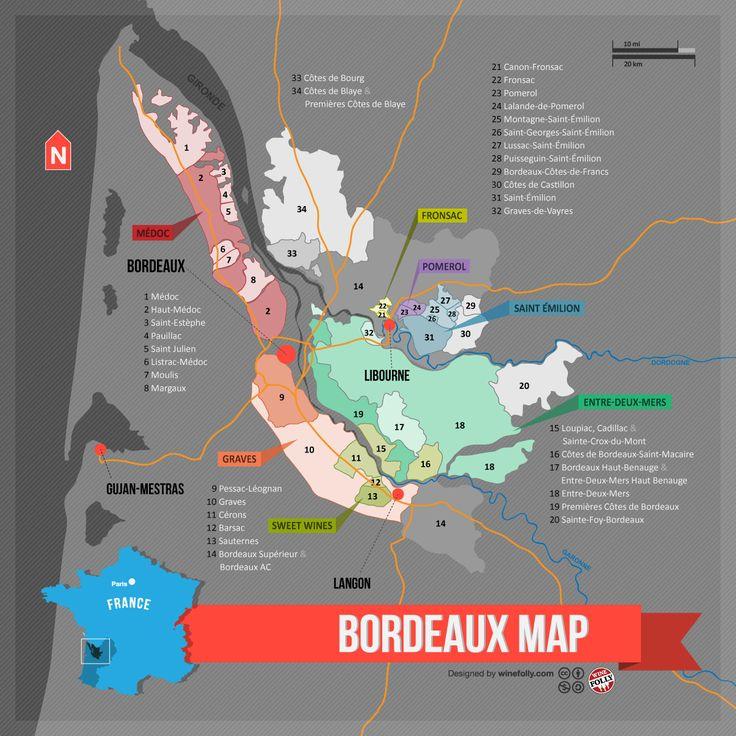 """[Map] """"Bordeaux Wine Map (France)"""" Nov-2012 by Winefolly.com. (Carte des Regions Viticoles et des AOC du Bordeaux)."""