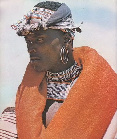 African Elegance by Alice Mertens and Joan Broster records the costumes, beadwork and customs of Xhosa tribal life in the Transkei region  |  This photo is image number 110