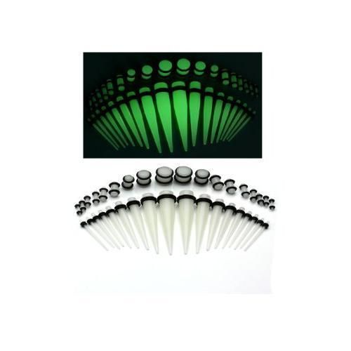 Pair of Glow in the Dark Acrylic Taper and Plugs Stretching Kit Gauges Set #BodyJewelry