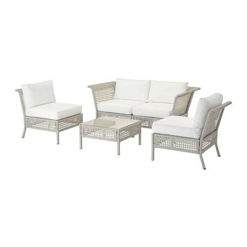 IKEA - KUNGSHOLMEN / KUNGSÖ, Ensemble 4 places, extérieur, gris clair/blanc, , En accolant différents sièges vous créez un canapé dont la forme et la taille s'adaptent parfaitement à votre espace extérieur.Le rotin synthétique et l'aluminium sont solides, résistants à la pluie et au soleil, et ne nécessitent pas d'entretien particulier.Le coussin d'assise offre un très grand confort grâce à un généreux garnissage en mousse haute résilience.Les co...