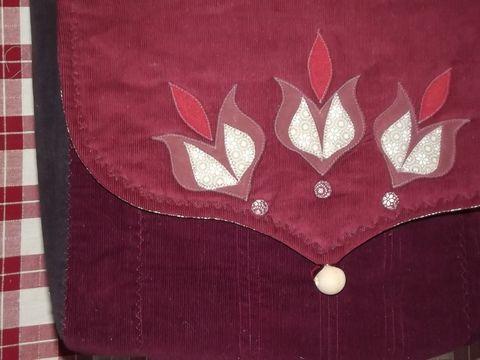 Tulipános, nagyméretű női táska, Táska, Válltáska, oldaltáska, Meska