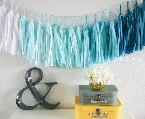 Aqua Ombre tassel garland party decoration // by tasselandtwine, $35.00