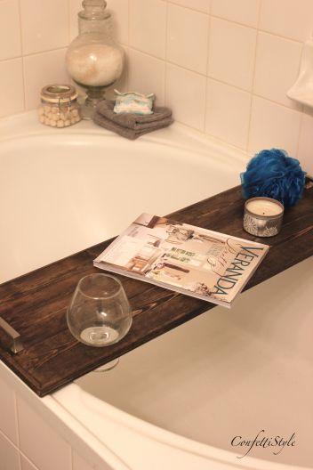 DIY Bathtub Tray by ConfettiStyle