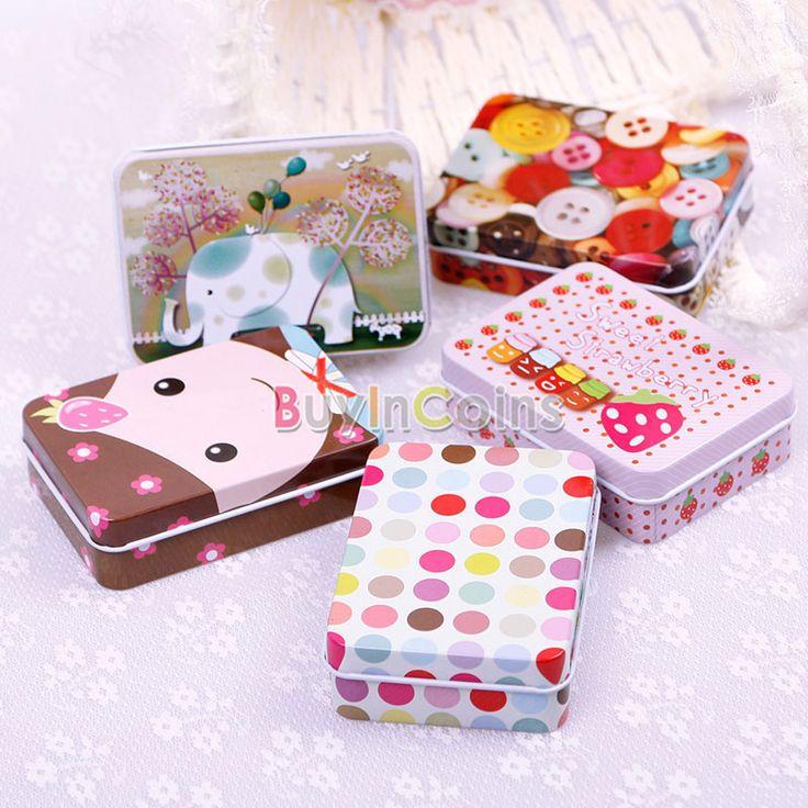 Cute Fashion Rectangular Iron Card Decor Tin Storage Bag Small Jewelry Box Gift -- BuyinCoins.com
