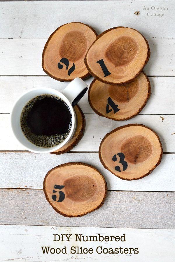 Diy numbered wood slice coasters easy sharpie craft for Wood slice craft ideas