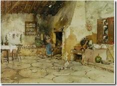 """""""1909-Cozinha com velha e cão""""  -  portuguese watercolourist   ALFREDO ROQUE GAMEIRO"""