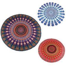 2016 Hot Indian Mandala Tapestry Peacock Printed Boho Bohemian Beach Towel Yoga Mat Sunblock Round Bikini Cover-Up Blanket Throw //Price: $US $8.59 & FREE Shipping //