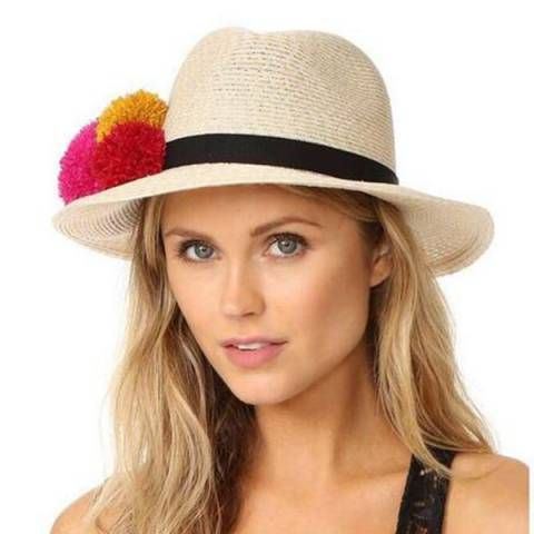 Three pom pom straw panama hat for women UV summer white sun hats