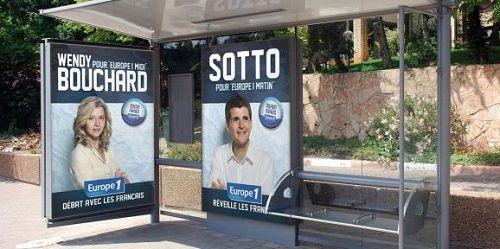 """Les affiches de la rentrée d'Europe 1  """"La station de la rue François-1er a lancé ce lundi sa nouvelle grille de programmes. Les publicités qui la promeuvent ont des allures d'affiches de campagne électorale."""""""
