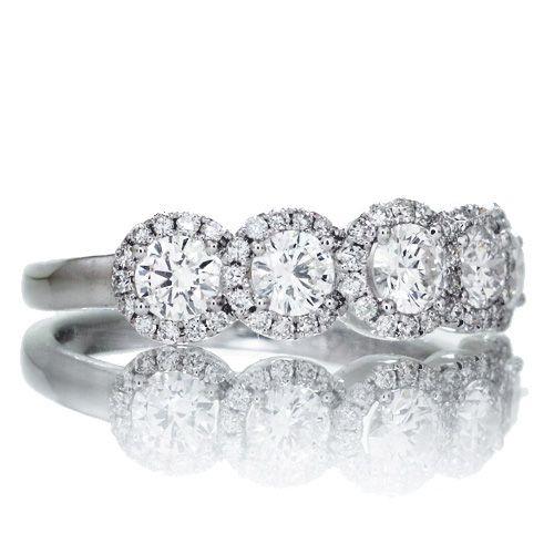 The Olivia Diamond Band Halo Diamond Engagement Ring
