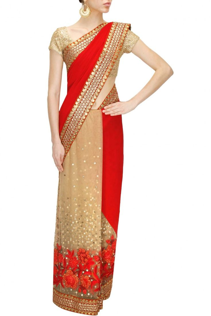 Red and beige thread and bead floral work sari with aari embroidered blouse…