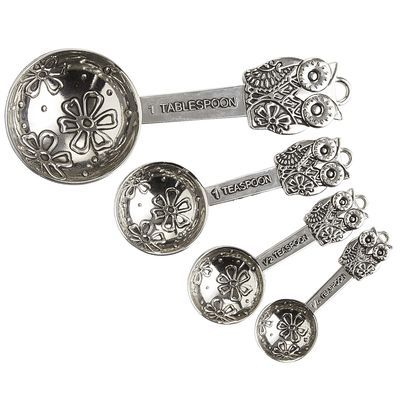 Metal Owl Measuring Spoons Set | Pier 1 - Basically, I just want to use these as wall decor in the kitchen. So adorable!