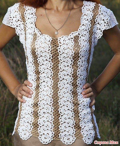 crochelinhasagulhas: Blusa branca e dourada em crochê