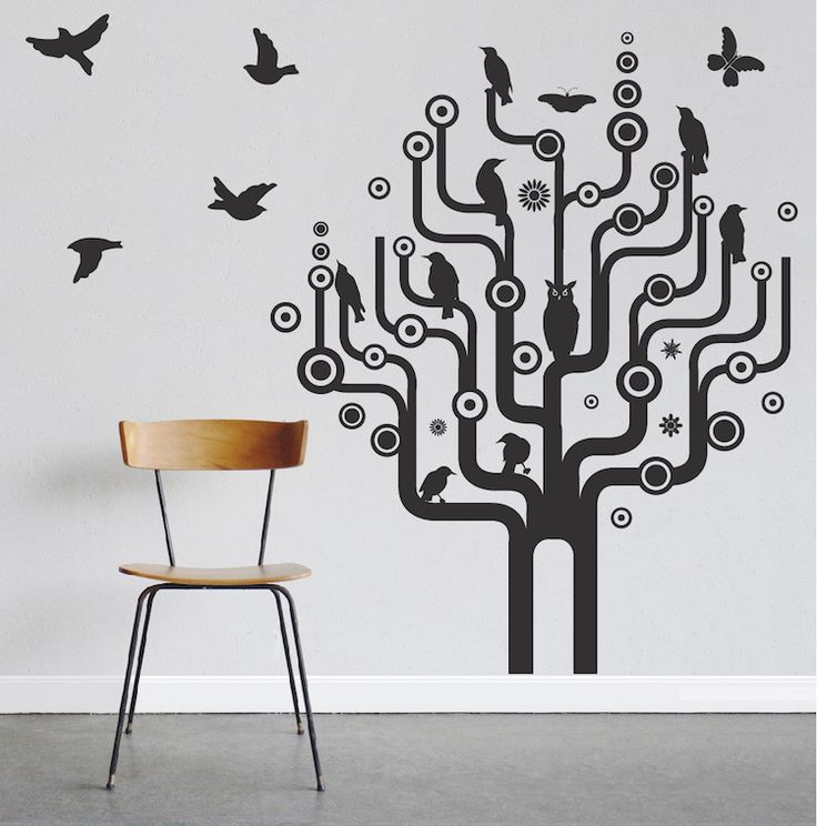 urban bird tree wall art design - Designs For Walls